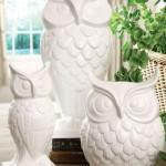 Multipurpose White Owl Vase