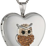 Sterling Silver Locker with Crystal Owl Embellishment