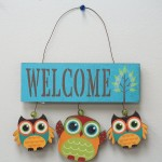 Wooden Owls Welcome Sign for Outdoors