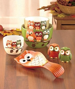 6 Piece Owl Ceramic Kitchen Gift Set Owl Delights