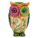 Colorful Owl Sculpture with Jewel Accents