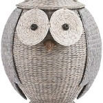 Cute Grey Owl Laundry Clothes Hamper