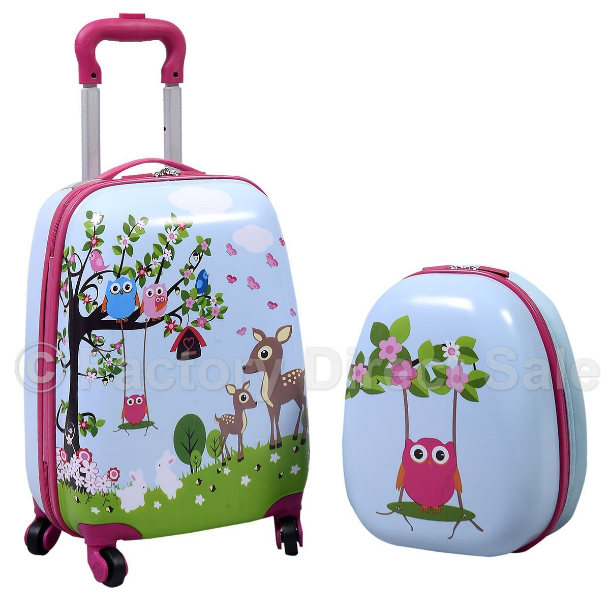 Kids Owl Hard Shell Rolling Luggage and Backpack Set • Owl Delights