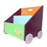 Kids Wooden Bookcase on Wheels
