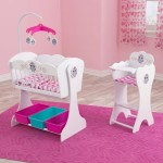 Owl Theme Wooden Cradle and Highchair Doll Set