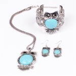 Silver and Turquoise Owl Jewelry Set