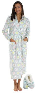 Super Soft Owl Print Womens Robe & Slippers Set