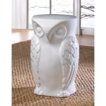 White Ceramic Owl Stool or Side Table