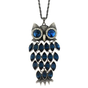 Stunning Blue Crystal Owl Pendant with Long Chain