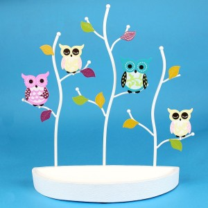 Pretty Owl Jewelry Stand with Tray