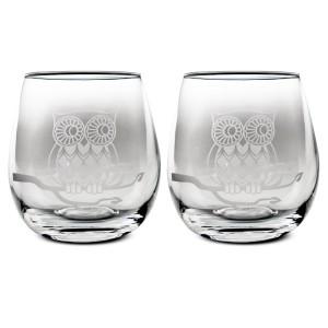 Stemless Owl Wine Glass Set