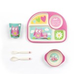 Owl theme bamboo dinner set for kids